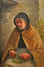 D.W. HADDON (act.1884-1911),  Old Blind Woman Shelling Peas, O.O.C, sig