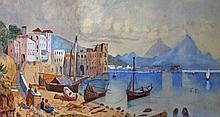 19TH CENTURY ITALIAN SCHOOL,  Coastal Town with Figures, W.C, 8in (20cm