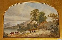 19TH CENTURY ENGLISH SCHOOL,  Figures and Cattle by a River on a Countr