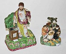 A STAFFORDSHIRE PEARL WARE FIGURE,  probably Walton, Jeremiah, as is, 1