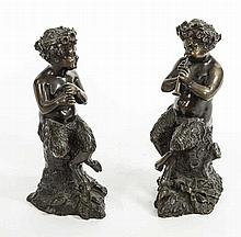 A PAIR OF 19TH CENTURY BRONZE FIGURES,  each modelled as Pan Seated Pla