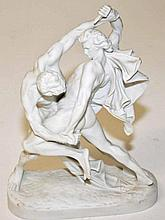 A CONTINENTAL PARIAN FIGURE,  modelled as The Knife Wrestlers, probably