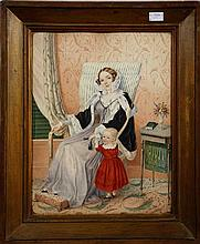 EARLY 19TH CENTURY ENGLISH SCHOOL,  Regency Interior Scene, depicting w