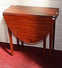 AN INLAID MAHOGANY DROP LEAF PEMBROKE TABLE,  In the Sheraton style, wi