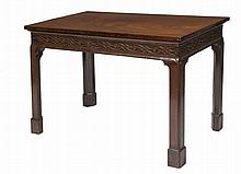 A FINE GEORGE III RECTANGULAR MAHOGANY SIDE TABLE,  with a wide open bl