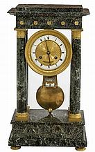 A VERY ATTRACTIVE FRENCH GREEN MARBLE PORTICO MANTLE CLOCK,  late 19th