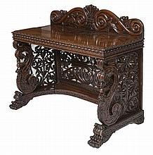 A FINE CARVED ANGLO INDIAN SIDE TABLE,  William IV period, the shaped b