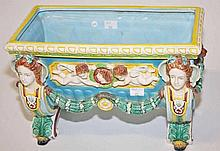 A MAJOLLICA PLANTER,  in the Minton style O.R.M, of rectangular form, a