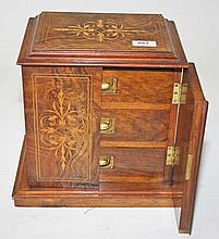 A LATE 19TH CENTURY INLAID WALNUT AND MARQUETRY TABLE CABINET,  the rec
