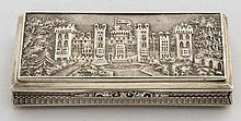 A VERY FINE SILVER CASTLE TOP SNUFF BOX,  by Nathaniel Hills, Birmingha