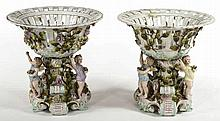 A PAIR OF SITZENDORF PORCELAIN COMPORTS OR TABLE CENTRES,  each encrust