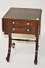 A REGENCY PERIOD INLAID MAHOGANY AND CROSS BANDED LADIES PEMBROKE TYPE WORK