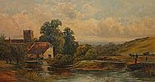 19TH CENTURY ENGLISH SCHOOL,  Figures, Cottage and Church by a Canal, O