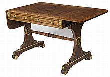 A FINE REGENCY PERIOD BRASS MOUNTED SATINWOOD BANDED AND ROSEWOOD, GRAINED