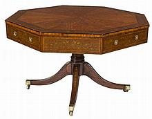 AN EXCEPTIONAL OCTAGONAL SATINWOOD AND MARQUETRY LIBRARY OR CENTRE TABLE,