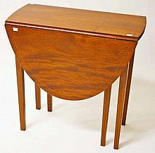 A 19TH CENTURY INLAID AND CROSS BANDED MAHOGANY FOLD OVER CARD TABLE,