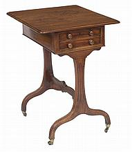 A REGENCY PERIOD MAHOGANY LADIES PEMBROKE STYLE WORK TABLE,  with two o