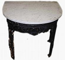 A BOW FRONTED MARBLE TOP GARDEN SIDE TABLE OR PATIO TABLE,  with shell