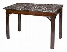 A MAHOGANY SIDE TABLE,  in the Chippendale style, with a rectangular gr