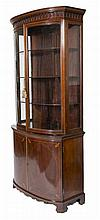 A VERY ATTRACTIVE INLAID AND BOW FRONTED MAHOGANY DISPLAY CABINET,  Edw