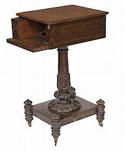 A VERY UNUSUAL WILLIAM IV PERIOD BRASS INLAID ROSEWOOD TEA POY,  the re