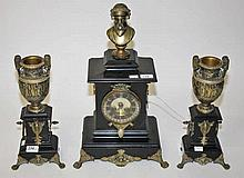 A THREE PIECE POLISHED SLATE AND BRASS MOUNTED MANTLE CLOCK GARNITURE,