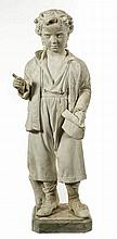 A CARVED WHITE STATUARY MARBLE FIGURE,  19th century, modelled as a you