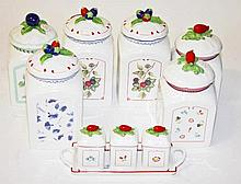 A COLLECTION OF SIX VILLEROY & BOCH COTTAGE CHARM STORAGE JARS,  Each w