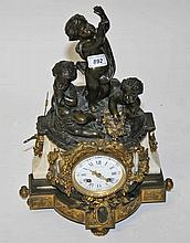 A FINE 19TH CENTURY HEAVY WHITE MARBLE AND BRONZE MOUNTED MANTLE CLOCK,