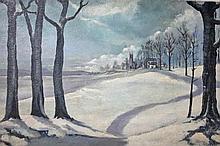 DENNIS O'BRIEN (20TH/21ST CENTURY),  Winter Landscape, with Church Beyo