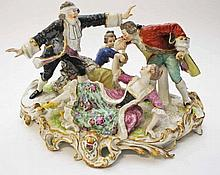A SAMSON PORCELAIN GROUP,  Blind Man's Buff, modelled with two ladies a