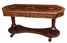 AN IRISH VICTORIAN KILLARNEY YEW WOOD AND MARQUETRY LIBRARY OR CENTRE TABLE