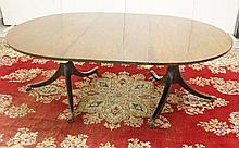 A GEORGE III PERIOD MAHOGANY TWIN PEDESTAL DINING TABLE,  with demi lun