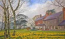 JAMES HALL FLACK (B.1941),  Daffodil time at Kerlogue House, large colo