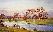 JAMES HALL FLACK (B. 1941),  Autumn on the Slaney, W.C, signed lower ri