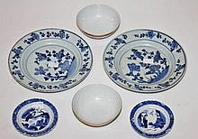 A PAIR OF LATE 18TH CENTURY CHINESE BLUE AND WHITE PLATES,  both as is,