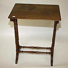 A 19TH CENTURY OAK OCCASIONAL TABLE,  originally part of a nest, with r