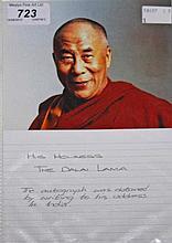 THE DALAI LAMA - a signed original photograph depicting Tenzin Gyatso, the