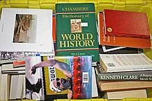 TWO BOXES OF MIXED INTEREST BOOKS,  including histories, paper backs, n
