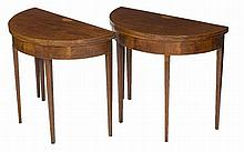 A PAIR OF INLAID AND CROSS BANDED DEMI LUNE FOLDOVER CARD TABLES,  Late