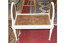 A CREAM PAINTED BERGERE WINDOW STOOL,  in the French style, 19th centur