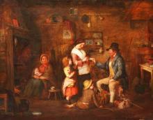 EDMUND FITZPATRICK ARHA (FL 1848-1883) ''Irish Cottage Interior with Peasan