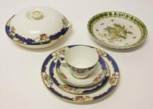 A SET OF SIX COLOURFUL FLORAL AND BUTTERFLY DECORATED PORCELAIN DESSERT PLA