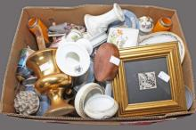 A BOX OF MISCELLANEOUS ITEMS,  comprising porcelain, glass etc. (a lot)