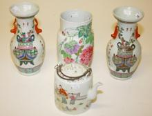 A PAIR OF CHINESE BALUSTER SHAPED PORCELAIN FAMILLE ROSE VASES,  modern, ea
