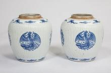 A GOOD PAIR OF CHINESE BLUE AND WHITE GINGER JARS,  late 18th, early 19th c