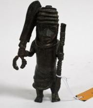 A BRONZE FIGURE OF AN OBA WITH SWORD AND SPEAR, Benin, Edo, Nigeria, possib