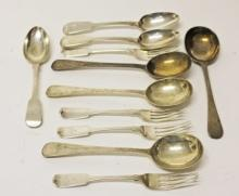 A SET OF FOUR BRIGHT CUT FEATHER EDGE SILVER SOUP SPOONS, London 1860; toge