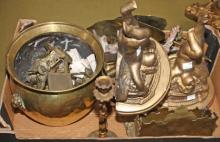 A COLLECTION OF MISCELLANEOUS BRASS, , a pair of brass wall sconces, each i