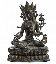 A TWO COLOUR BRONZE FIGURE, The Buddha Sakyamuni,